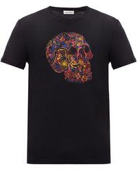 Alexander McQueen Floral Skull-print Cotton-jersey T-shirt - Black