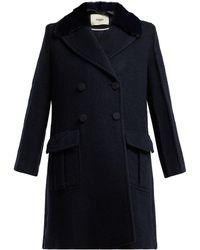 Fendi - Double Breasted Wool Blend Coat - Lyst
