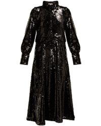 Ganni Sonora Sequinned Midi Dress - Black
