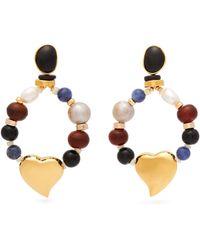 Lizzie Fortunato Candy Heart Multi Stone Earrings - Metallic