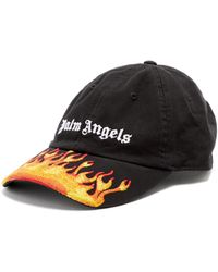 Palm Angels Burning Flames Logo-embroidered Cap - Black