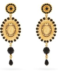 Dolce & Gabbana - Cameo Crystal And Bead Drop Earrings - Lyst