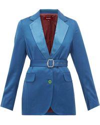Sies Marjan Terry ベルテッド ウールツイルジャケット - ブルー