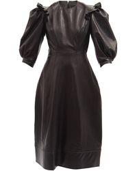 Simone Rocha パフスリーブ レザードレス - ブラック
