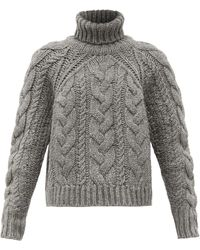 Cecilie Bahnsen Roll-neck Cable-knit Wool-blend Jumper - Grey