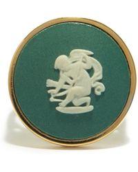 Ferian Chevalière en or 9 carats à camée Wedgwood Cupid - Métallisé