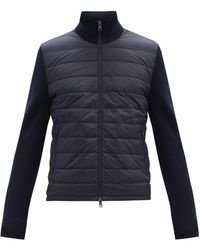Moncler Down-quilted Wool-blend Cardigan - Blue