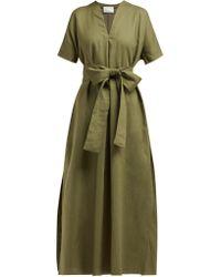 Lisa Marie Fernandez - Rosetta V Neck Linen Midi Dress - Lyst