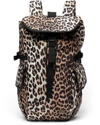 Ganni Leopard-print Recycled-shell Backpack - Multicolor