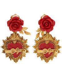 Dolce & Gabbana | Rose And Heart-drop Clip On Earrings | Lyst