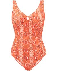 Diane von Furstenberg Lori Scoop-back Python-print Swimsuit - Orange