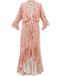 Adriana Degreas タイフロント ツイルドレス - ピンク