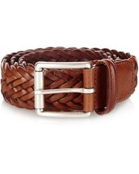 Andersons Woven-leather Belt - Brown
