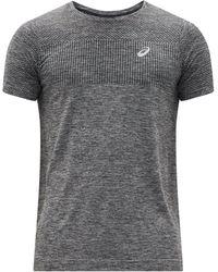 Asics レース リフレクティブロゴ シームレスtシャツ - グレー