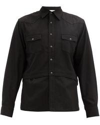 Sasquatchfabrix. ウエスタン レイヤードクレープシャツ - ブラック