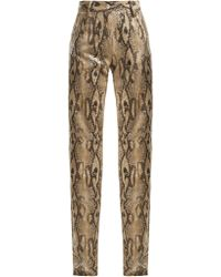 MSGM - High Waisted Snake Print Trousers - Lyst