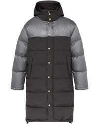 Gucci Logo-jacquard Down-filled Coat - Grey
