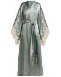 Carine Gilson - - Lace Trimmed Silk Kimono Robe - Womens - Light Blue - Lyst