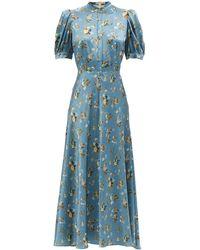 Brock Collection トレイシー ローラルシルククレープドレス - ブルー
