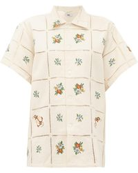 Bode Needle-point Floral-embroidered Cotton Shirt - Natural