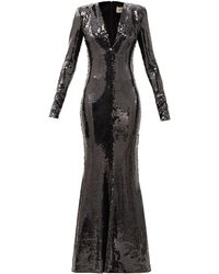 Alexandre Vauthier Plunge-neck Sequinned Fluted Gown - Black