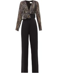 Peter Pilotto Metallic Fil-coupé Silk-blend Jumpsuit - Black