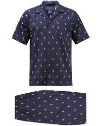 Polo Ralph Lauren Logo-print Cotton-poplin Short Pyjamas - Blue