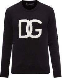 Dolce & Gabbana ロゴインターシャ バージンウールセーター - ブラック