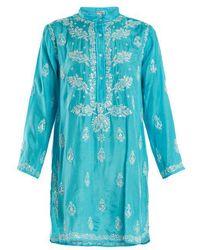 Juliet Dunn - Floral Embroidered Silk Shirtdress - Lyst