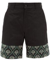 Adish Embroidered-hem Poplin Shorts - Black