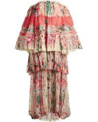 Roberto Cavalli - Phoenix-print Tiered Pleated Silk-chiffon Gown - Lyst