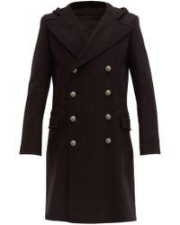 Balmain Manteau en laine mélangée à double boutonnage - Noir