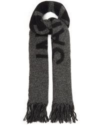 Saint Laurent Logo-jacquard Fringed Wool-blend Scarf - Grey