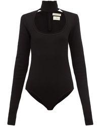 Bottega Veneta スクープネック ウールブレンドボディスーツ - ブラック