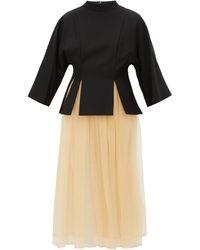 Noir Kei Ninomiya Layered Gabardine And Tulle Midi Dress - Black