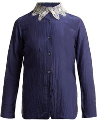 Thierry Colson - Amauray Lace Collar Cotton Blend Pyjama Top - Lyst