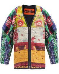 Colville Veste en coton surcyclé à coutures Kantha - Multicolore