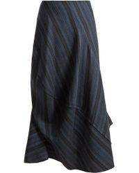 Acne | Suse Striped Asymmetric Wool-blend Skirt | Lyst