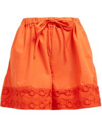 Fendi High-rise Belted Embroidered-cotton Shorts - Multicolour
