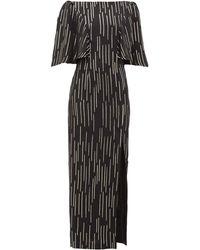 Adriana Iglesias テイラー ラメストライプドレス - ブラック