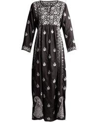 Muzungu Sisters Floral-embroidered Silk Dress - Black