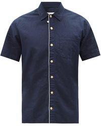 Oliver Spencer ハワイアン リネンコットンシャツ - ブルー
