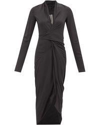 Rick Owens ラップフロント ギャザー クレープドレス - ブラック