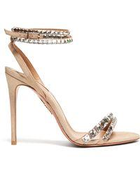 Aquazzura Salome 75 Suede Slingback Court Shoes - Multicolour