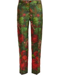 F.R.S For Restless Sleepers - Tartaro Rose Print Silk Trousers - Lyst
