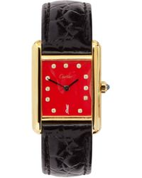 Jacquie Aiche Vintage Cartier Tank Diamond & Gold-plated Watch - Red