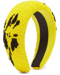 Ganni Floral Beaded Padded Headband - Yellow