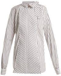 JW Anderson Pleated-panel Striped-cotton Shirt - White