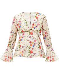 Borgo De Nor Fleurette Floral-print Cotton-blend Blouse - Multicolour