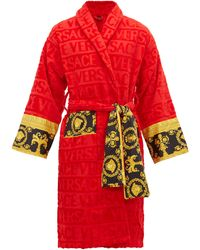 Versace I Love Baroque Logo Jacquard Cotton Bathrobe - Red